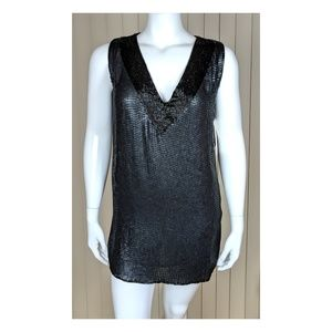 L Lord Taylor Matte Sequin Flapper Dress Beads